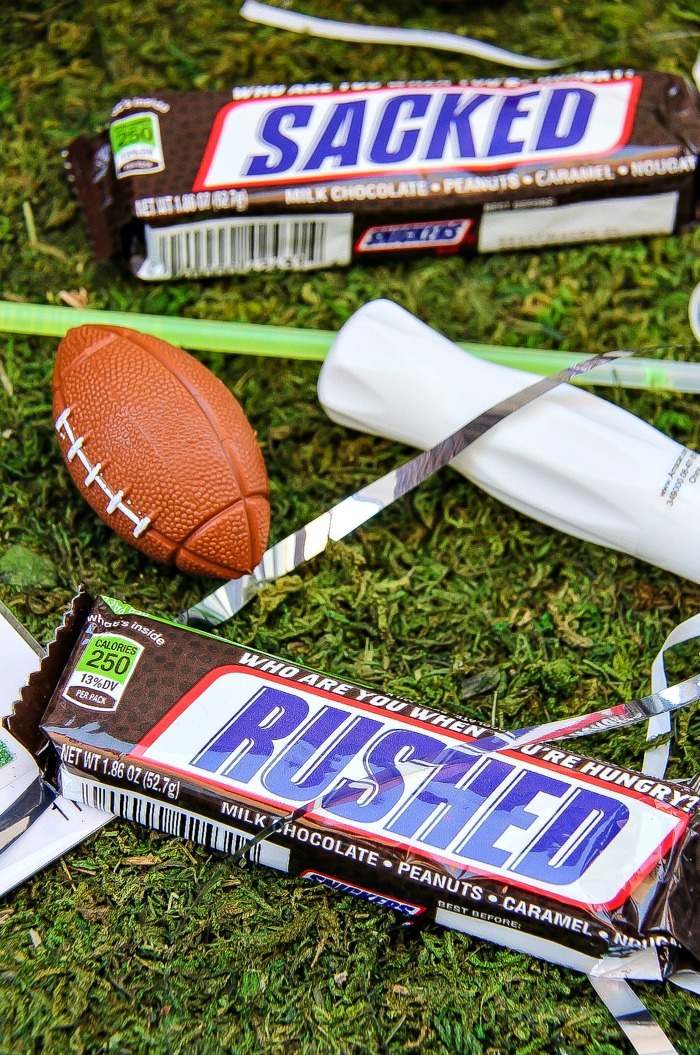 Football themed Snickers bars.