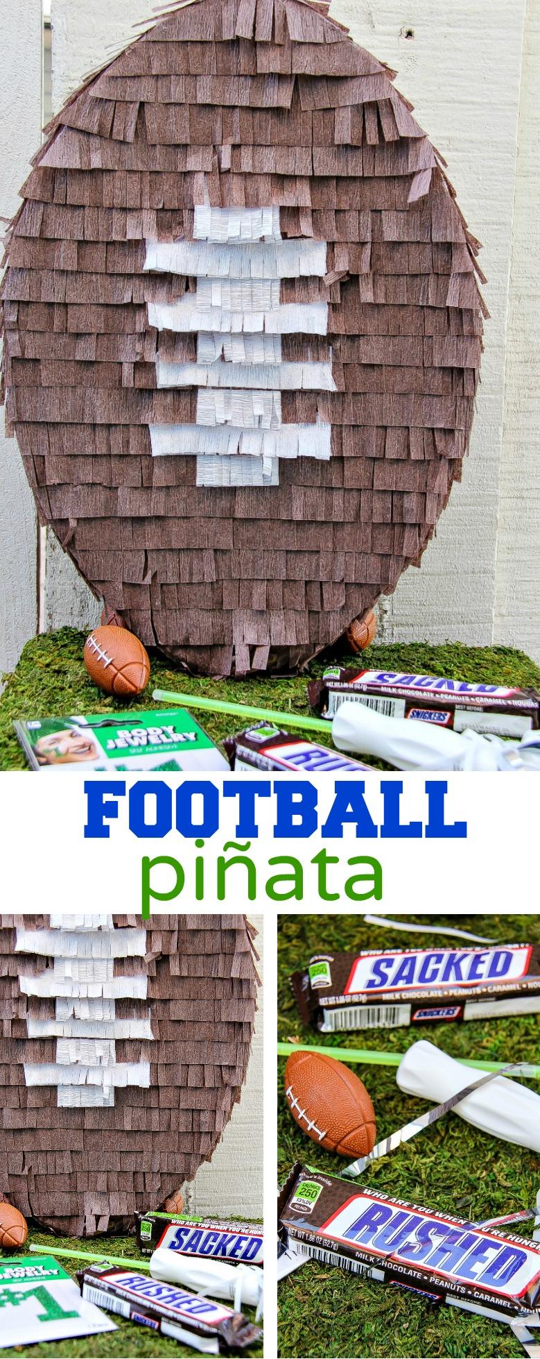 DIY pinata football Pinterest image