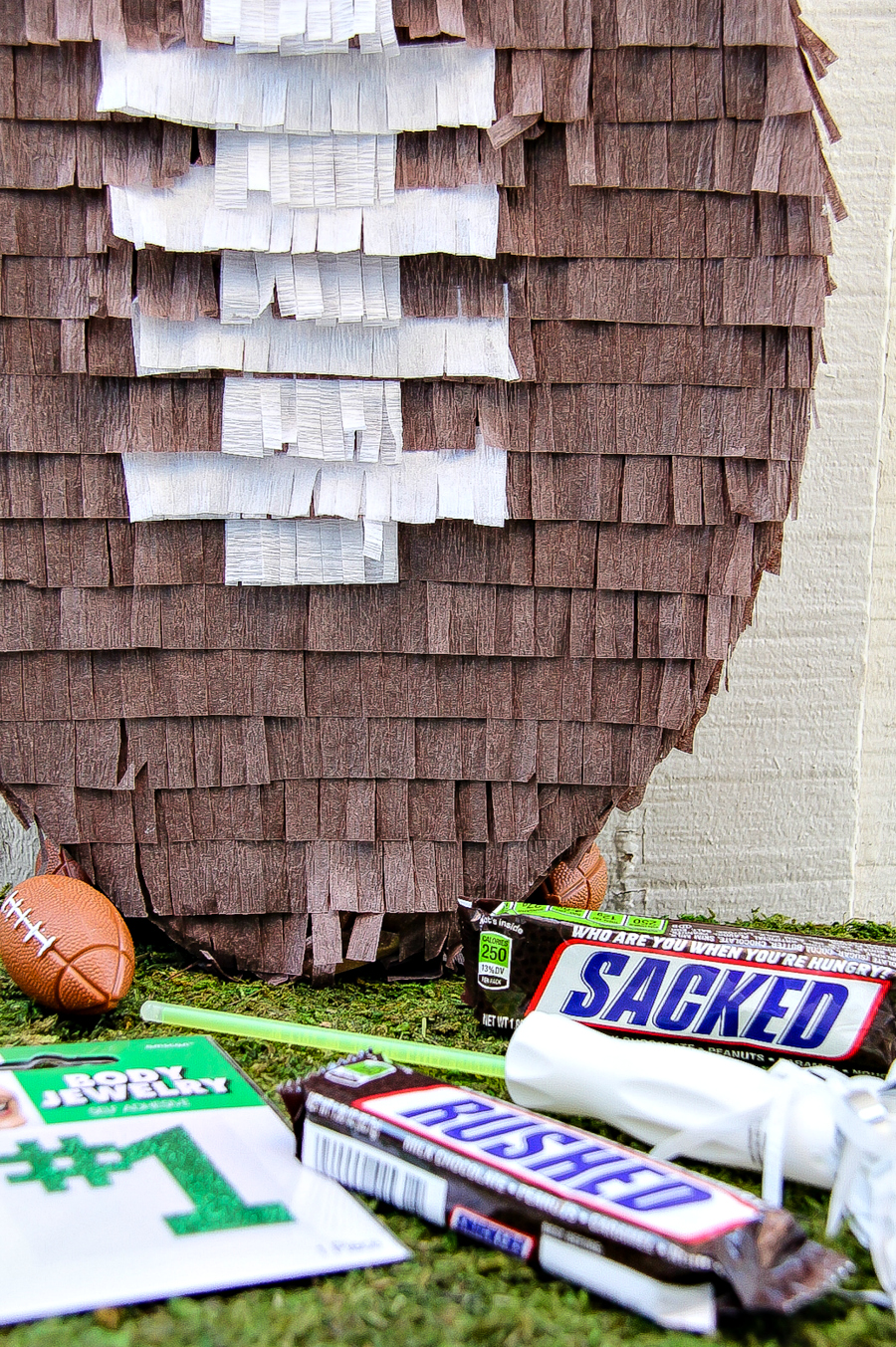 DIY pinata football for game day and sports parties.