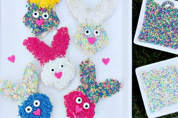 Fairy bread made to look like a bunny for an Easter party.