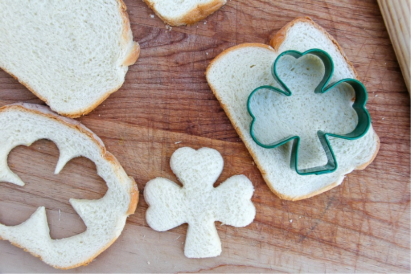 How to cut shamrock shapes in bread.