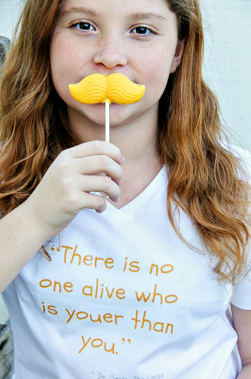 The Lorax mustache candy lollipops for kids