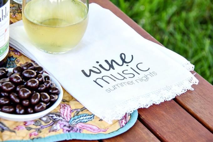 handmade wine music and summer nights napkins
