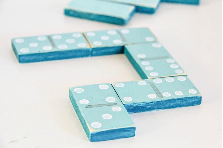 A handmade wood dominoes set