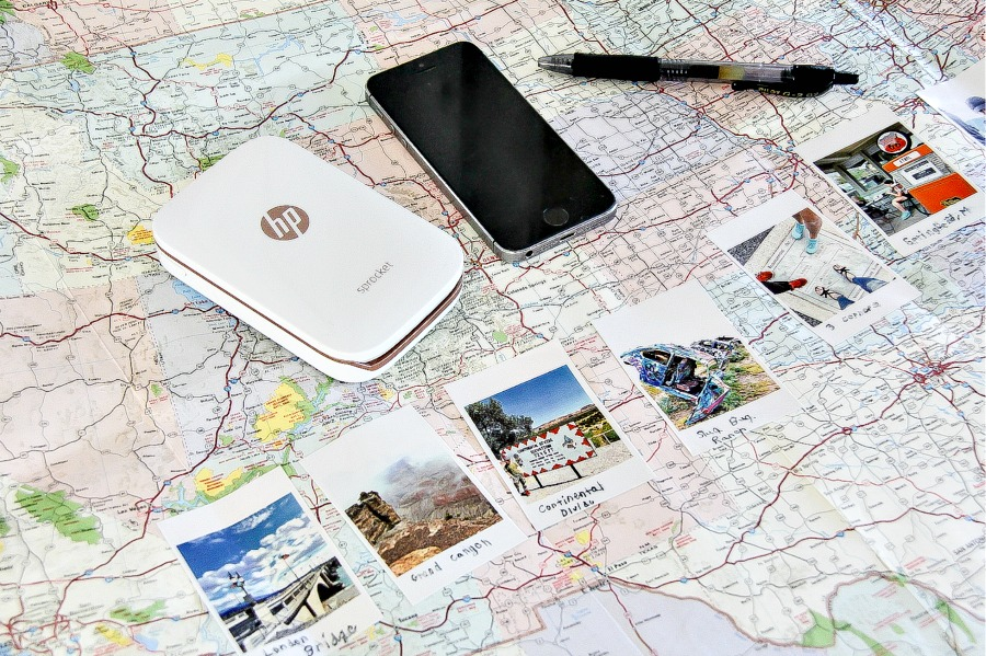 A map with photographs of road trip stops.
