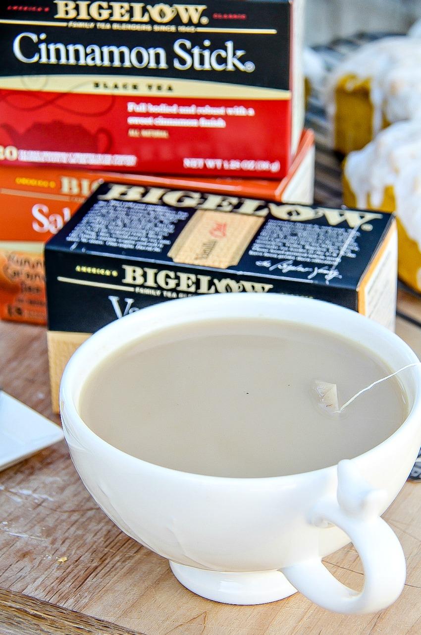 Bigelow tea in fall flavors like cinnamon stick.