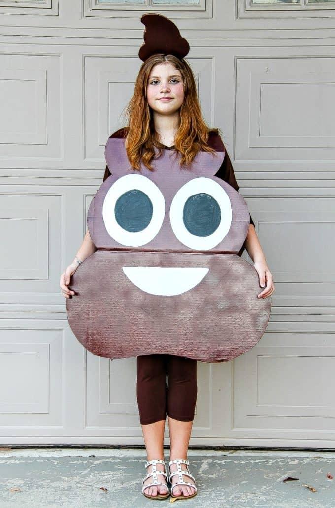 handmade cardboard poop emoji costume