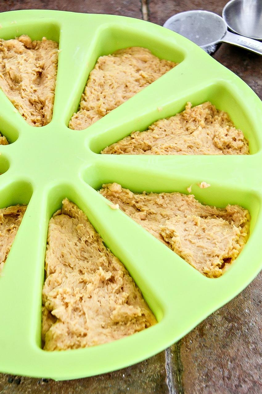 Scone mix in a silicone scone mold