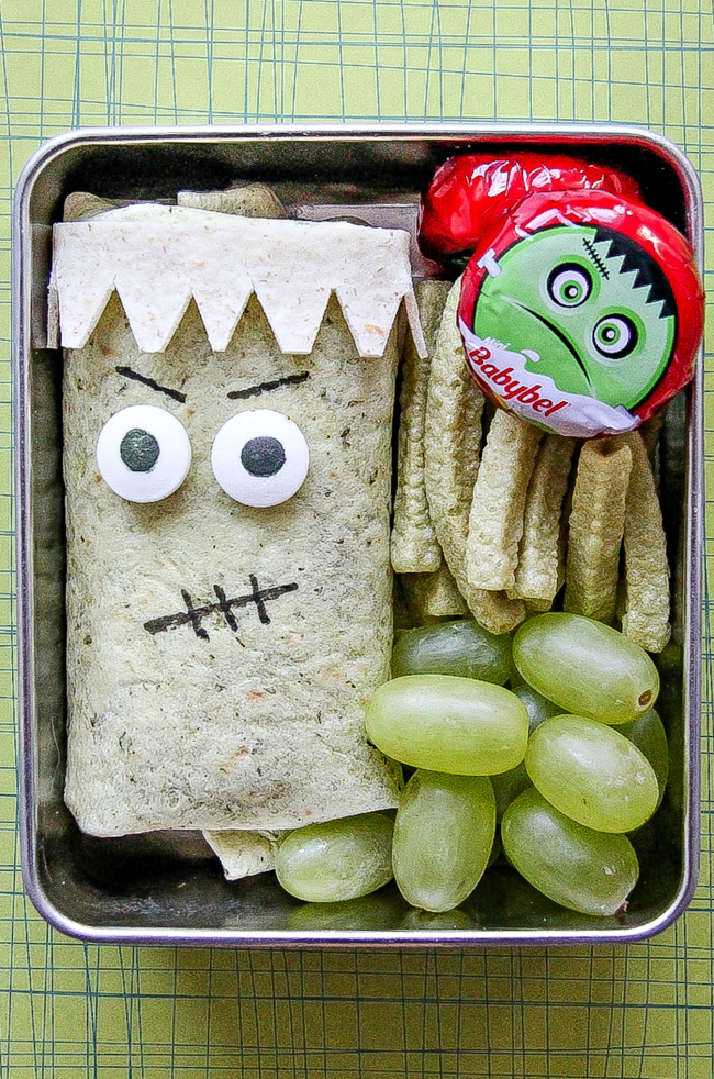 A Halloween lunch idea for kids for Frankenstein Friday.