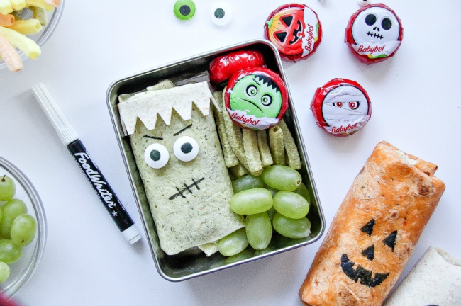 frankenstein and jack o'lantern lunch ideas for kids this Halloween