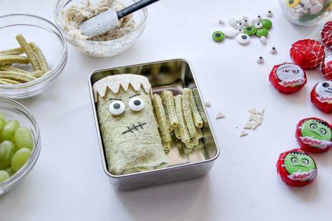A healthy Frankenstein school lunch being made for kids.