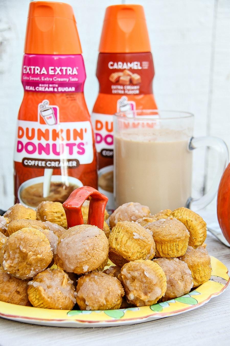 mini pumpkin donut muffins with Dunkin Donuts coffee creamer