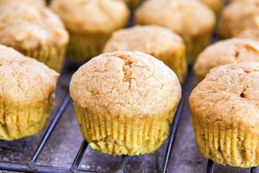 Mini pumpkin muffins cooling on a wire rack.