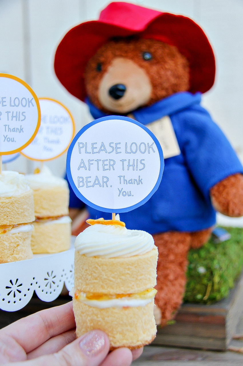Paddington-inspired stacked mini marmalade cakes.