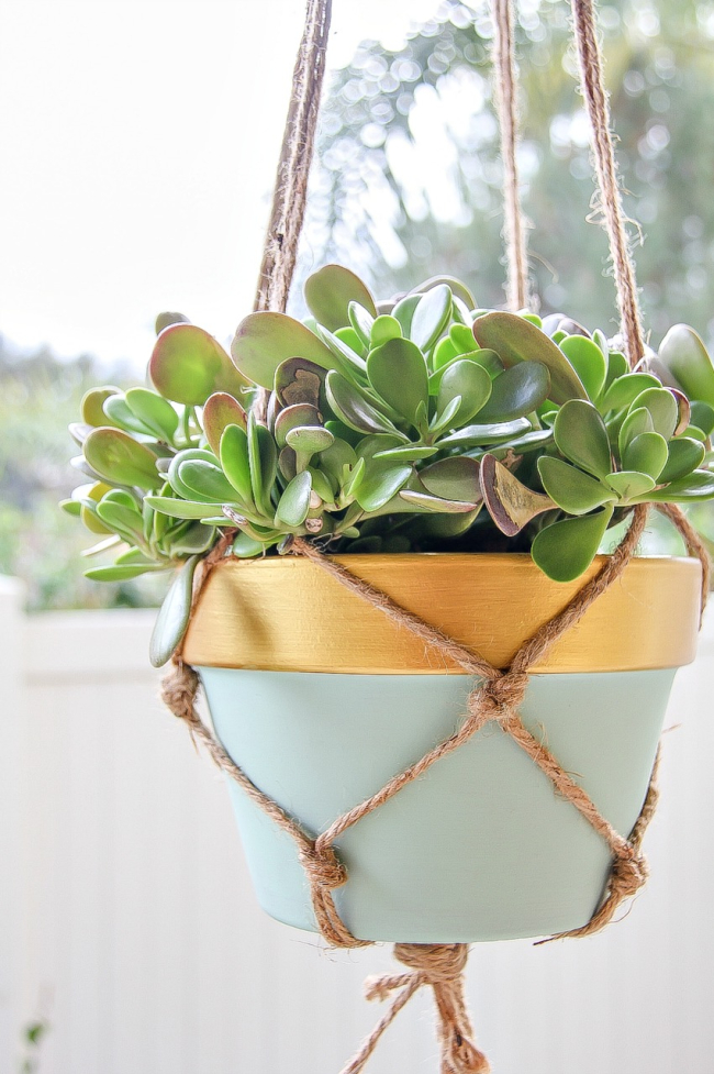 painted terracotta pot with a macrame hanger