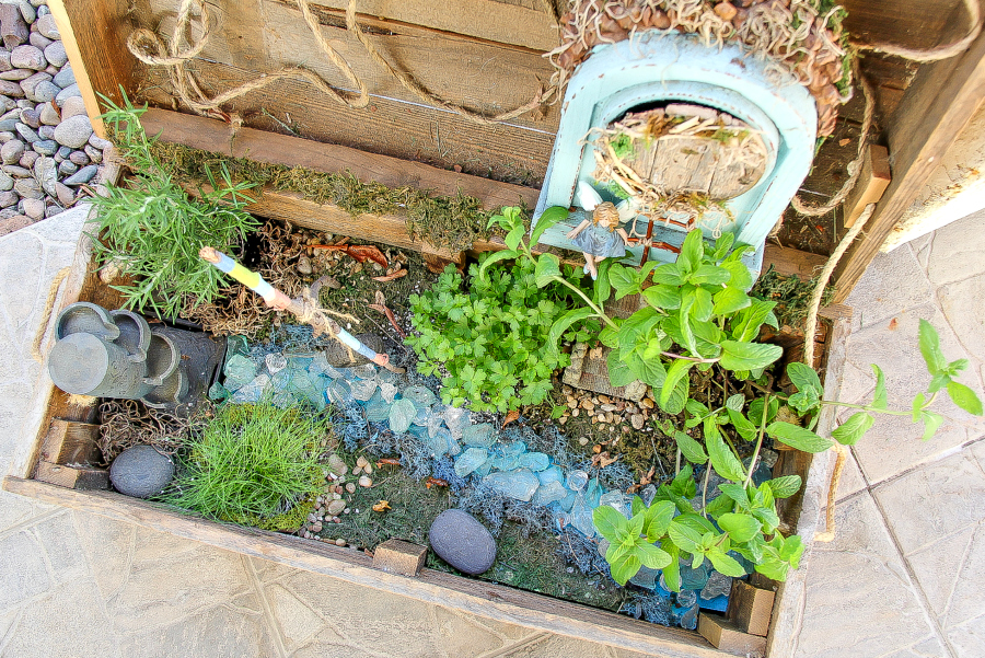 fairy garden inside a wood box