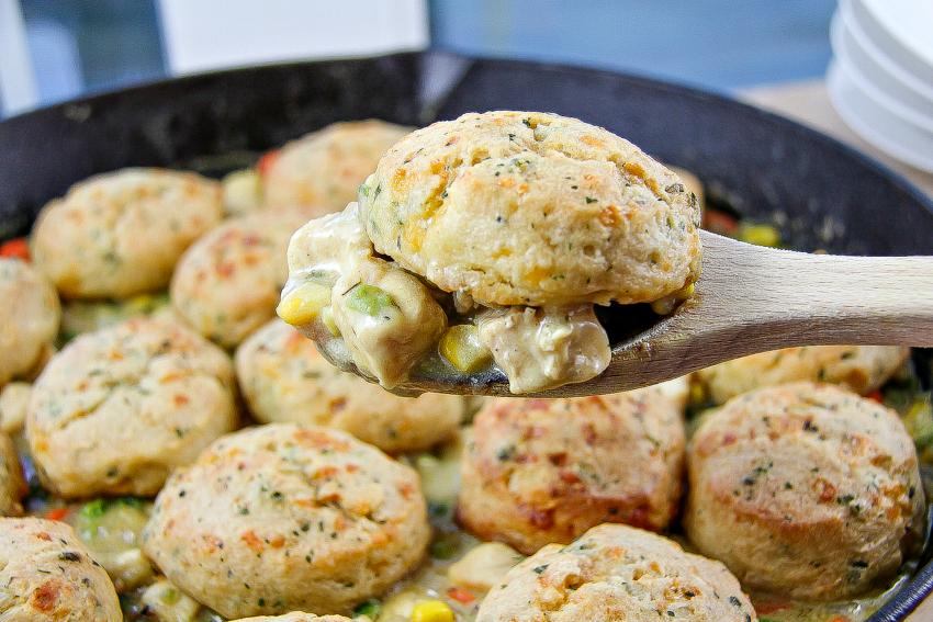 skillet chicken pot pie recipe with biscuits
