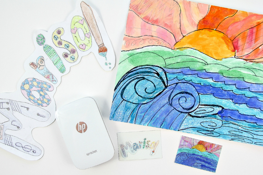 Kids artwork has been turned into magnets using a HP Sprocket printer.