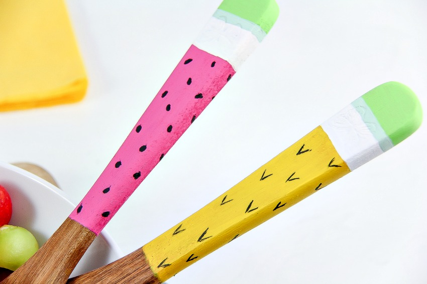 watermelon and pineapple painted salad servers summer craft