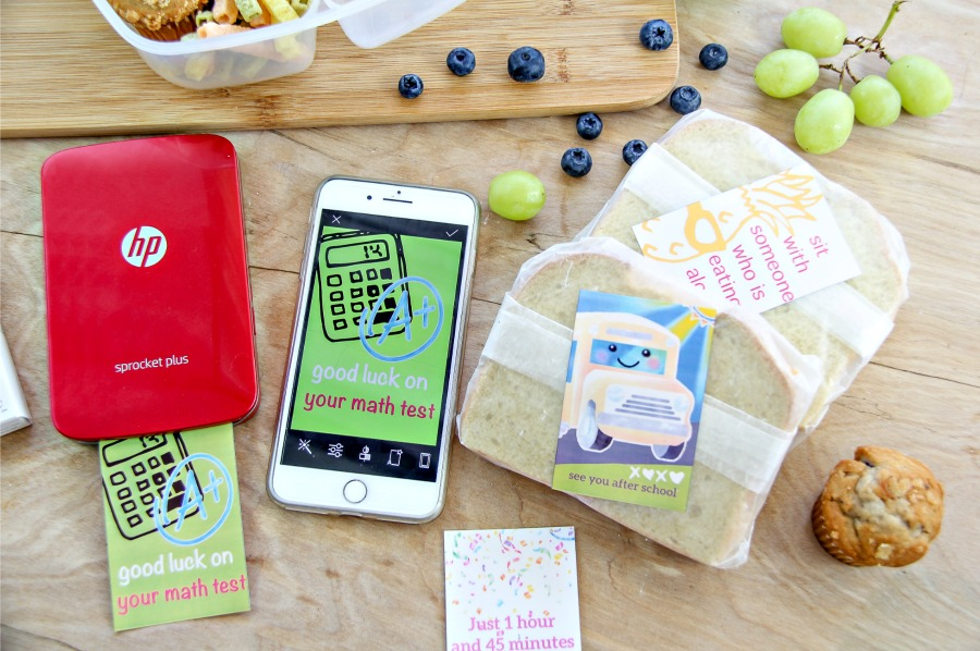 lunchbox labels for kids made using a HP Sprocket and a cell phone