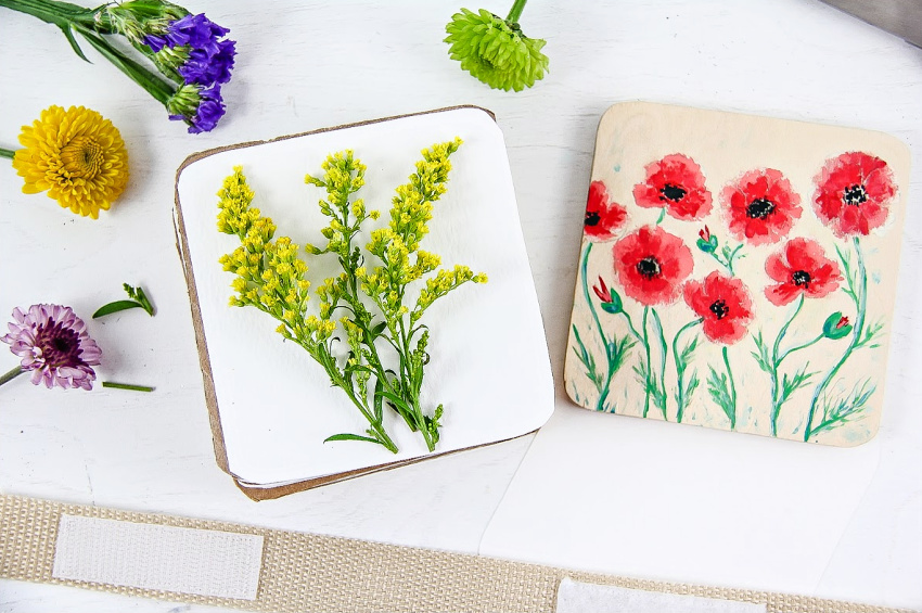 a hand painted flower press for kids to make