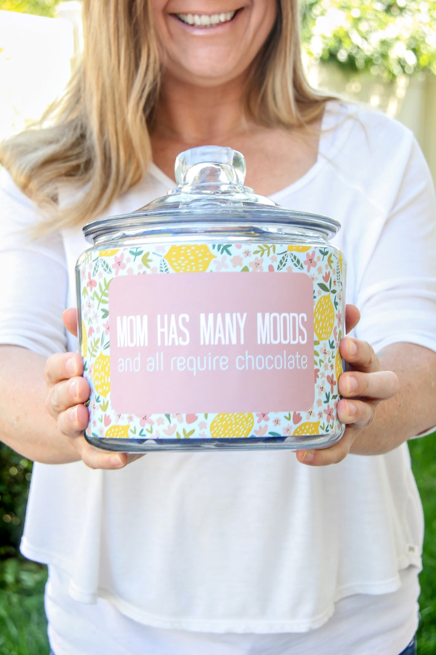 Mom has many moods and all require chocolate printable for a sweets jar.