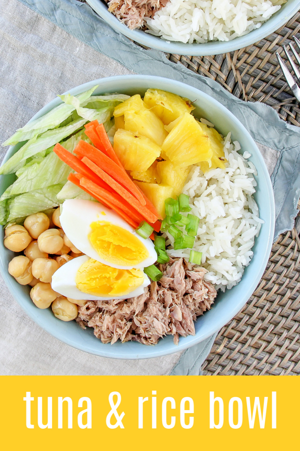 tuna and rice protein bowl Pinterest image.