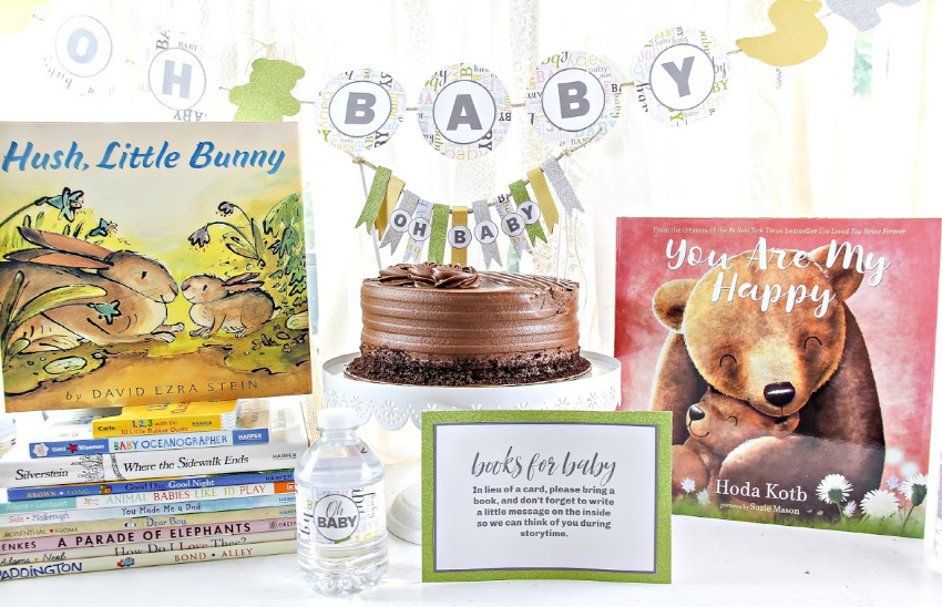 gender neutral book themed baby shower decorations