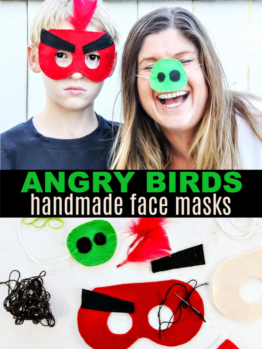 Angry birds crafts. Handmade face masks for kids Pinterest image.