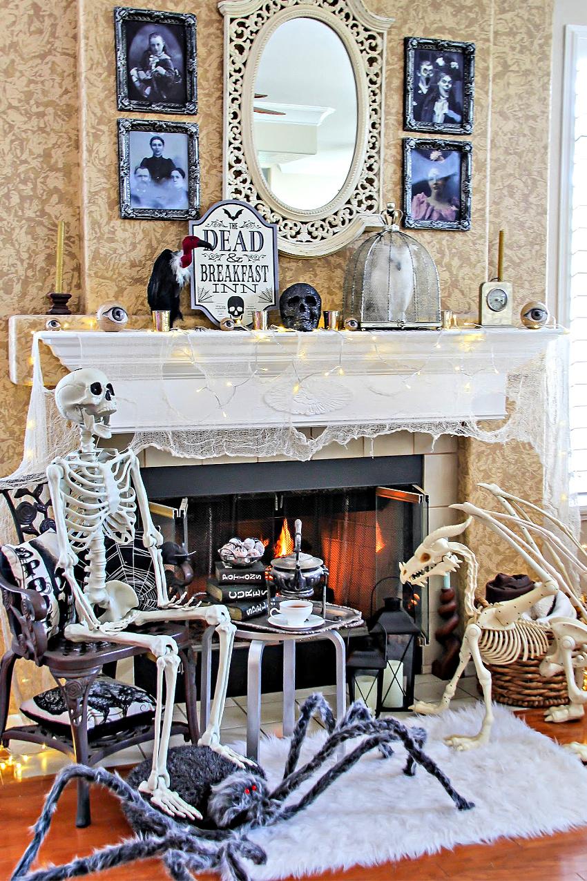 A dead and breakfast inn themed halloween fireplace