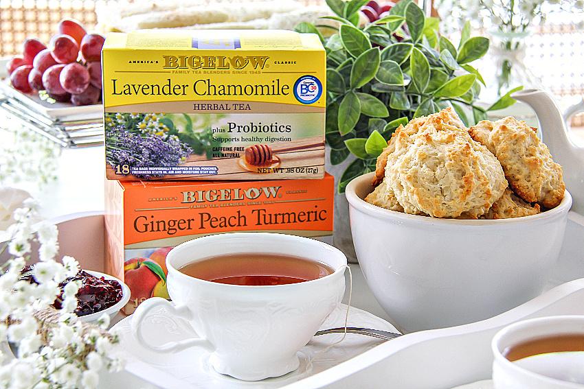 Bigelow herbal tea lavender chamomile and ginger peach turmeric