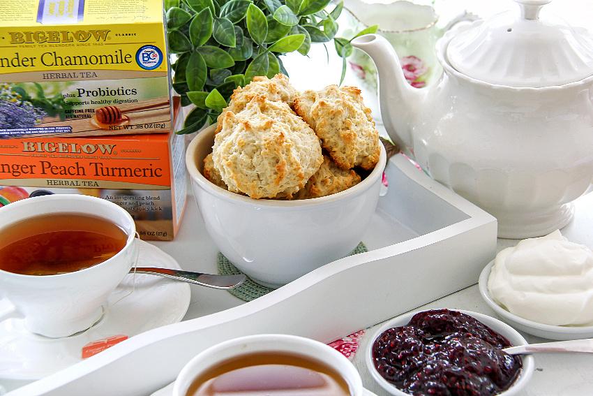 Scones with jam, cream and tea.