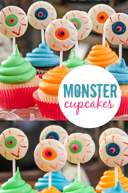 Monster cupcakes Pinterest image