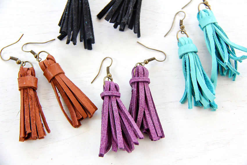 handmade leather and suede tassel earrings