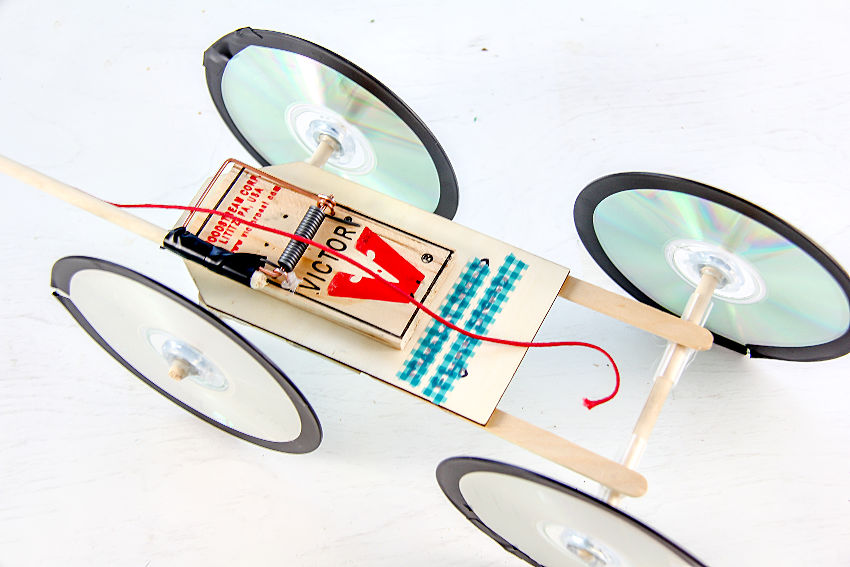 homemade mousetrap car science experiment
