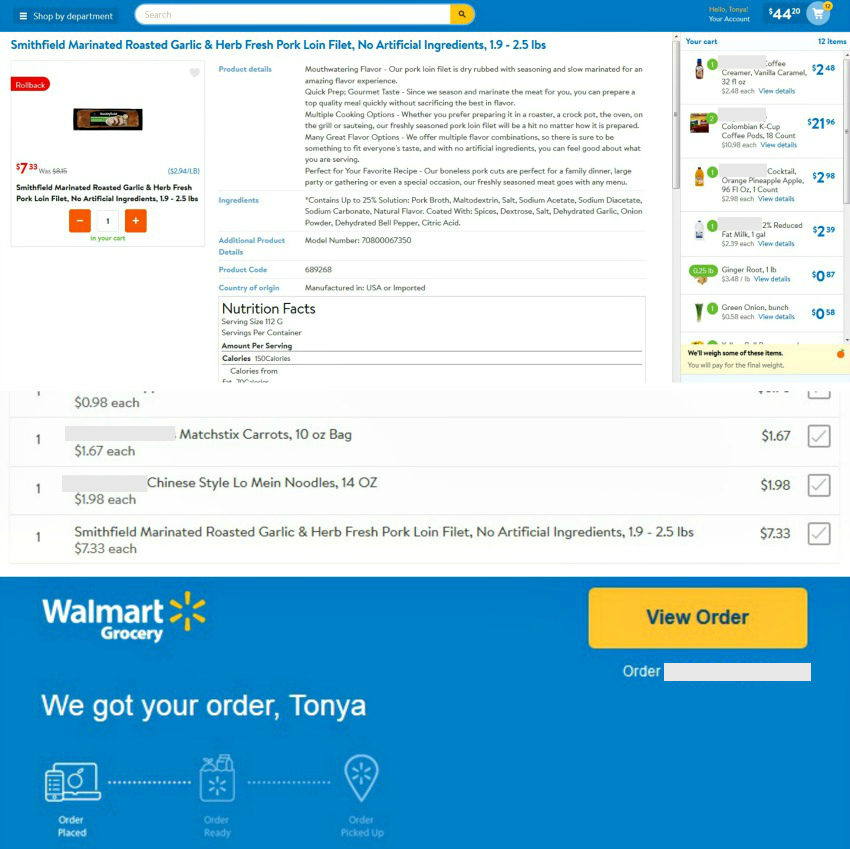 A screenshot of ordering groceries  online from Walmart for pick-up.