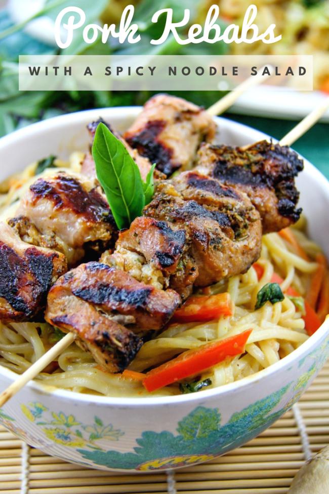 Marinated pork kebabs with Asian noodle salad Pinterest image.