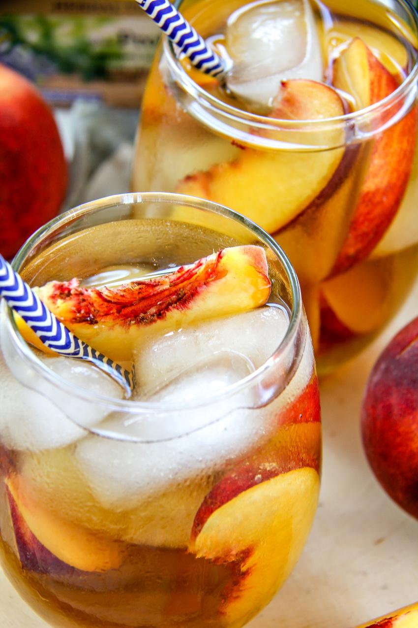 peach bourbon iced tea recipe with ginger and turmeric