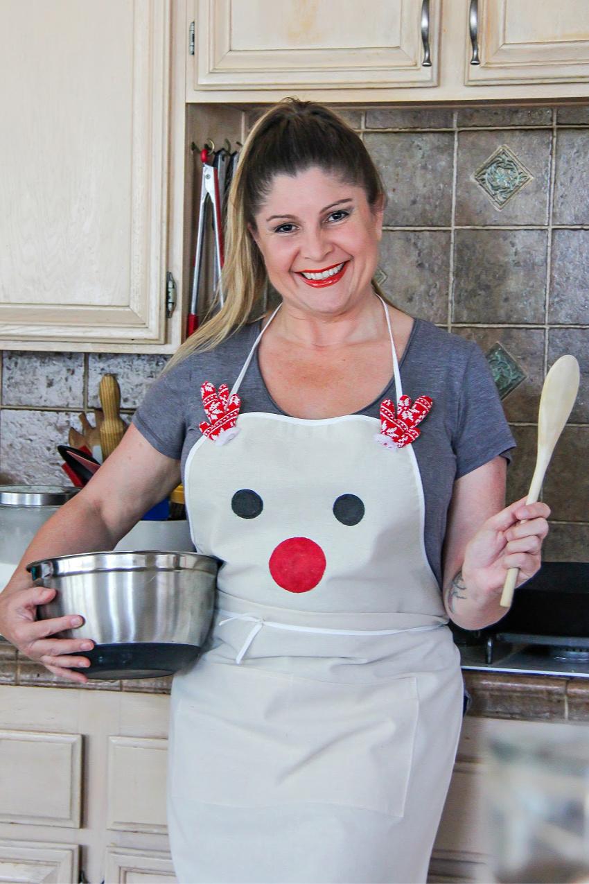A semi-handmade reindeer apron for Christmas baking.