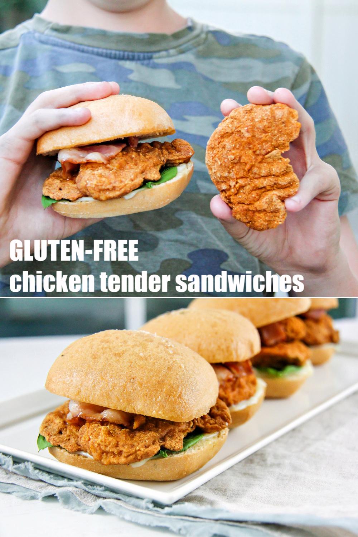 Gluten-free breaded chicken sandwiches Pinterest image.