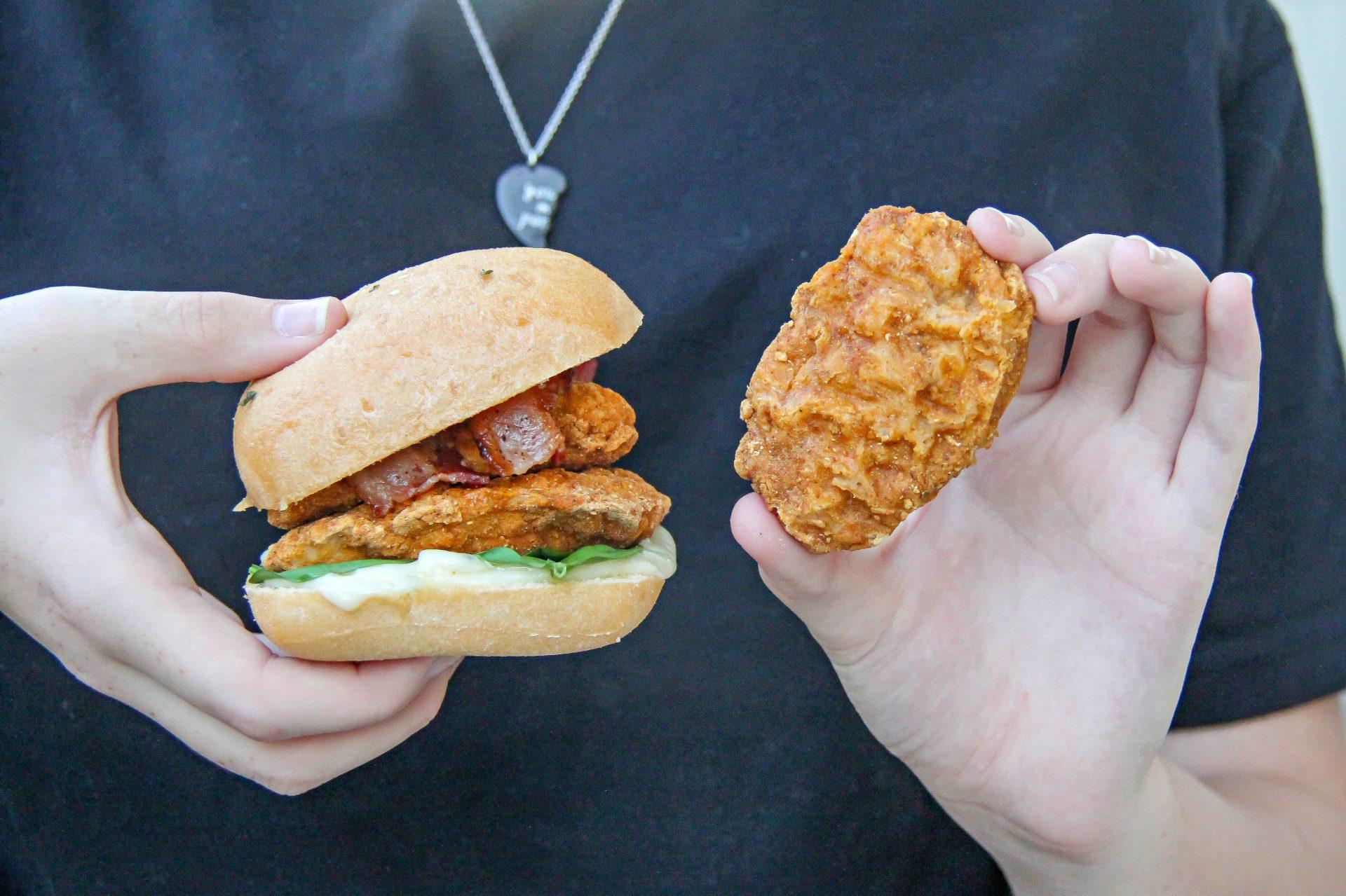 Gluten-free breaded chicken and bacon sandwiches using Caulipower chicken tenders.