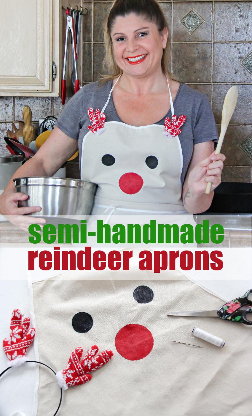 reindeer Christmas apron Pinterest image