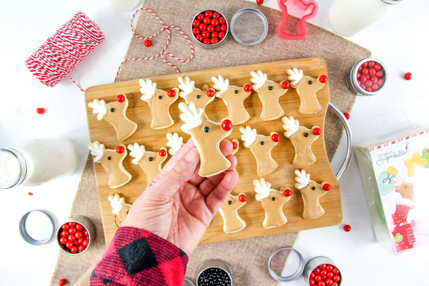 reindeer cookies for a cookie decorating party