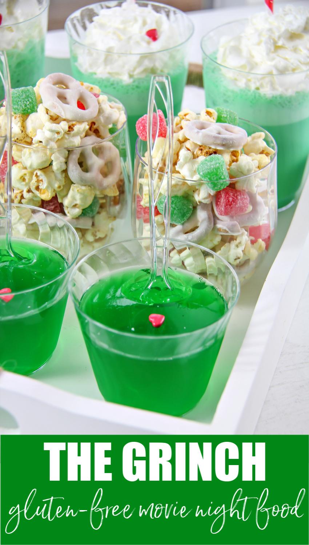 The Grinch movie night gluten-free treats Pinterest image