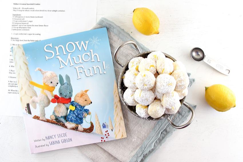 snow much fun book themed lemon snowball cookies