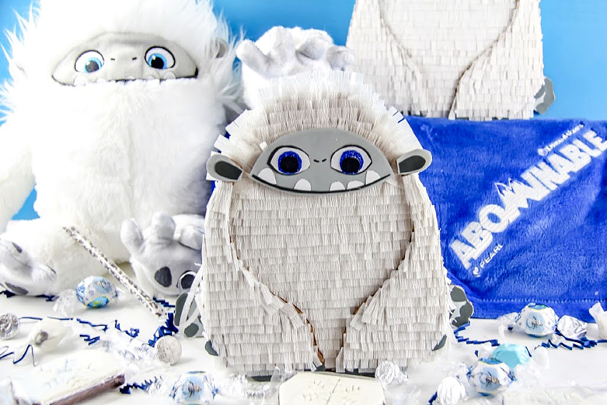 yeti pinata and yeti stuffed toy