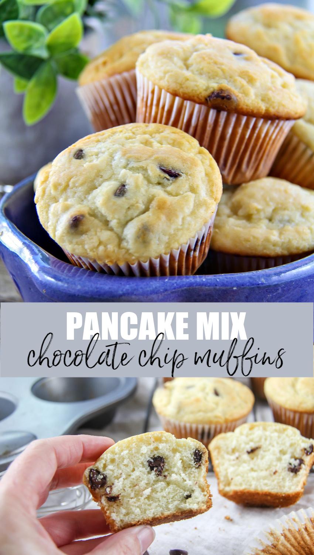 Pancake mix chocolate chip muffins Pinterest image