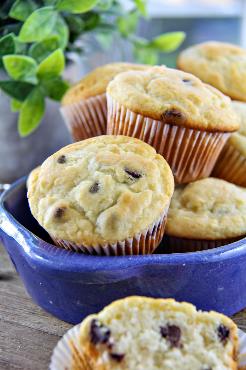 chocolate chip muffins in a blue bowl