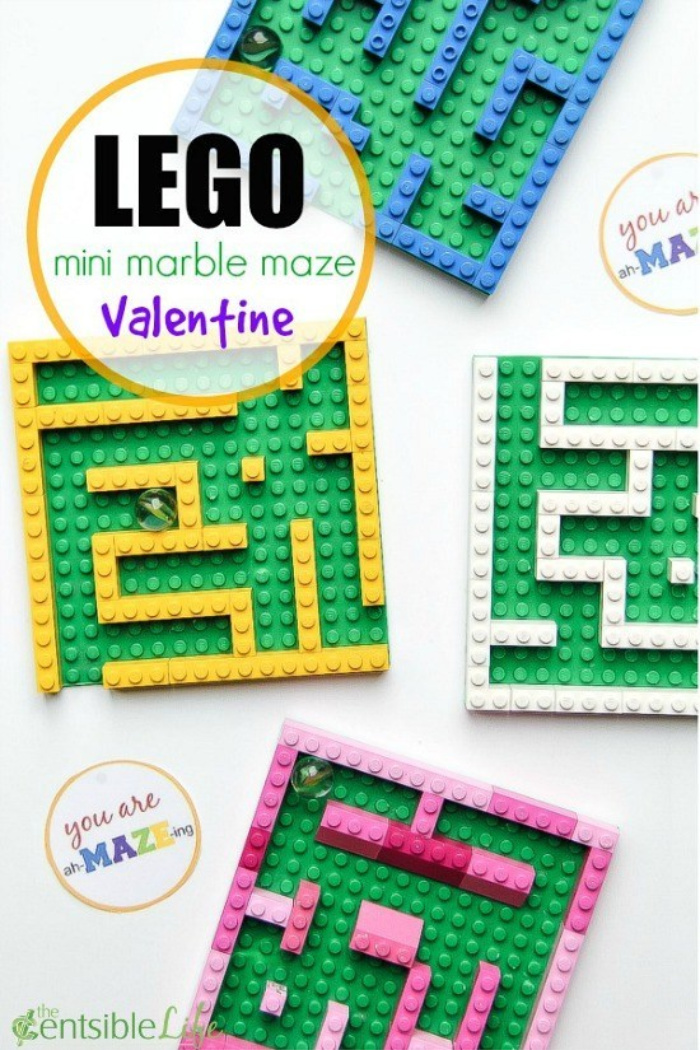 Miniature LEGO marble maze gift with free printable gift tag.