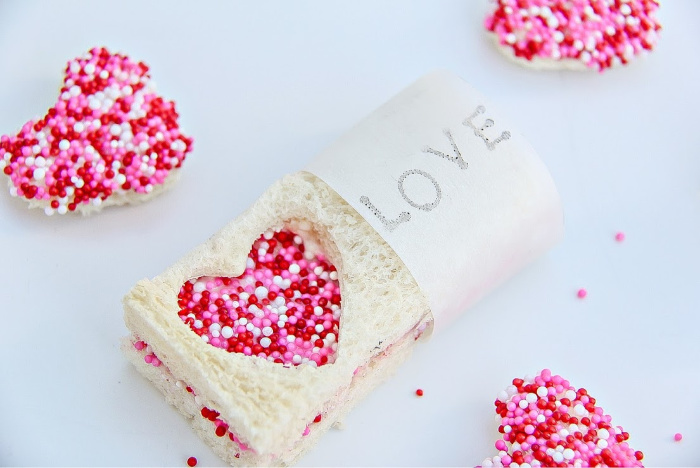 Valentine's Day fairy bread party treats for classroom parties.